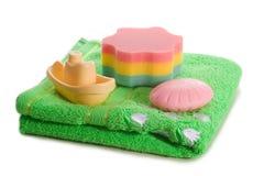 toy för handduk för fartygtvålsvamp Arkivbilder