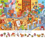 Toy factory. Find 15 objects in the picture. Funny cartoon character. Vector illustration Stock Photo