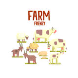 Toy Farm Animals Cute Sticker Illustration Libre de Droits