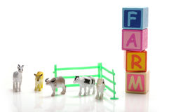 Toy farm. Animals on white background Royalty Free Stock Images