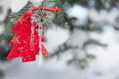 Toy fir tree on branches Royalty Free Stock Image