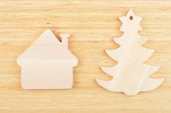 Toy fir tree and house Stock Images