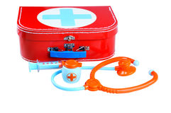Toy - First aid kit. Isolated on white background Stock Image