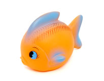 Toy fish 1. Close up of orange rubber fish toy on white background with clipping path, shadow not included Stock Photos