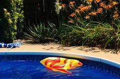 Toy Fish In inflado una piscina del patio trasero Foto de archivo libre de regalías