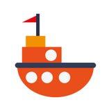Toy fishing boat icon. Flat design orange little fishing boat toy  illustration Stock Image