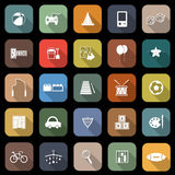 Toy flat icons with long shadow Royalty Free Stock Photos
