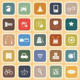 Toy flat icons on orange background Royalty Free Stock Image