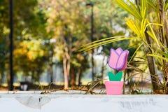 Toy Flower avec l'herbe dans le Saint Valentin Photographie stock