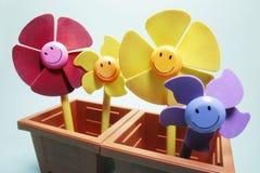 Toy Flowers in Potten royalty-vrije stock afbeeldingen
