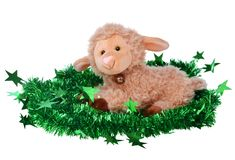 Toy fluffy sheep. Isolated on white Royalty Free Stock Image