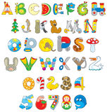 Toy font. English alphabet and numerals with toys Royalty Free Stock Image