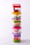Toy food containers 2. Staked play food containers stock photo