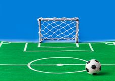Toy football field and gate stock photo