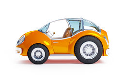 Toy futuristic car side. Orange futuristic toy car isolated on a white background. Side view Royalty Free Stock Photos