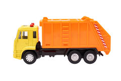 Toy Garbage Truck Isolated sur le fond blanc photographie stock