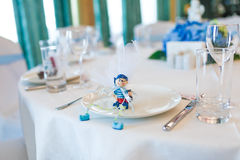 Toy gifts in a plate Royalty Free Stock Image