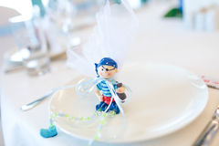 Toy gifts in a plate Royalty Free Stock Photo