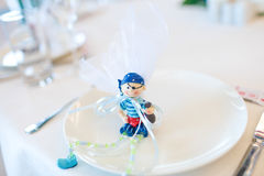 Toy gifts in a plate Royalty Free Stock Photos