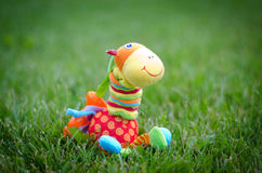 A toy giraffe in the grass. Funny toy colorful giraffe sitting in the grass Stock Photo