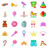 Toy for girl icons set, cartoon style Royalty Free Stock Photography
