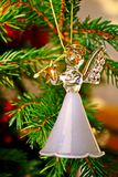 Toy glass angel decoration on the xmas tree. Toy glass angel decoration on the Christmas tree royalty free stock photography