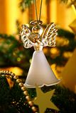 Toy glass angel decoration on the xmas tree. Toy glass angel decoration on the Christmas tree stock photography