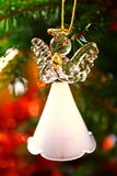 Toy glass angel decoration on the xmas tree. Toy glass angel decoration on the Christmas tree royalty free stock photo