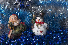 Toy Gnome and Snowman Royalty Free Stock Images