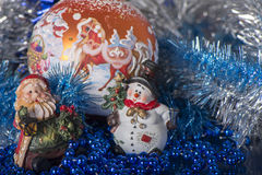 Toy Gnome and Snowman Stock Photography