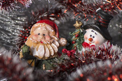Toy Gnome and Snowman Royalty Free Stock Photography