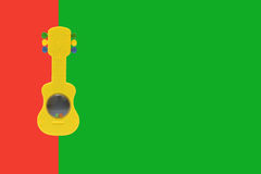 Toy guitar. In colourful green and red  background Royalty Free Stock Photos