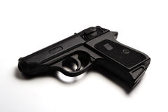 Toy Gun. Black toy gun, white background stock photography