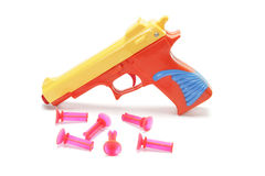 Toy Gun with Rubber Bullets. On White Background Royalty Free Stock Photography