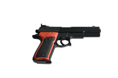 A toy gun on a white background. Black semi automatic handgun isolated on white background with a clipping path Stock Photos
