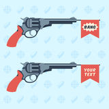 Toy guns with BANG and empty flags Royalty Free Stock Images