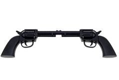 Toy hand guns connected at barrel Royalty Free Stock Image