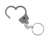 Toy handcuff keychain opened on white background Stock Photos
