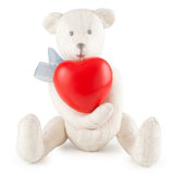 Toy handmade teddy bear with heart Royalty Free Stock Photography