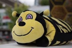 Toy happy plushy bee detail Royalty Free Stock Images