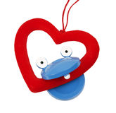 Toy with heart. In his mouth Royalty Free Stock Photography