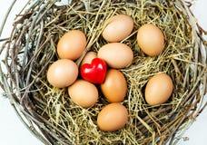 Toy heart between Easter eggs Stock Photos