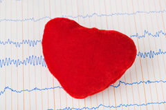 Toy heart on ecg Stock Photography