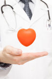 Toy heart over doctor's palm as symbol of health care Royalty Free Stock Photo