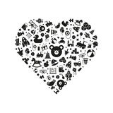Toy heart vector illustration. Variety of toys icons arranged in heart shape, black on white background Stock Photo