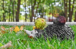 Toy - a hedgehog with chestnuts Royalty Free Stock Image