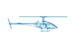Toy helicopter (3D xray blueon white) Stock Image