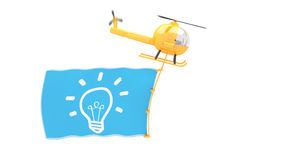 Toy helicopter with idea flag Royalty Free Stock Photography