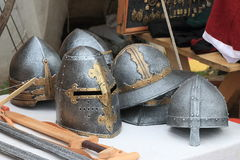 Toy helmets. Plastic toy helmets of various shapes on the merchant`s desk Royalty Free Stock Photography