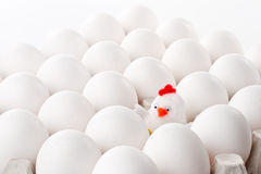 Toy hen and eggs Stock Images
